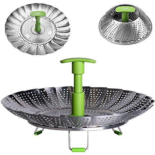 GA Homefavor Lotus Stainless Steel Steamer Basket Vegetable Steamer with Extendable Handle(Bigger Size 7