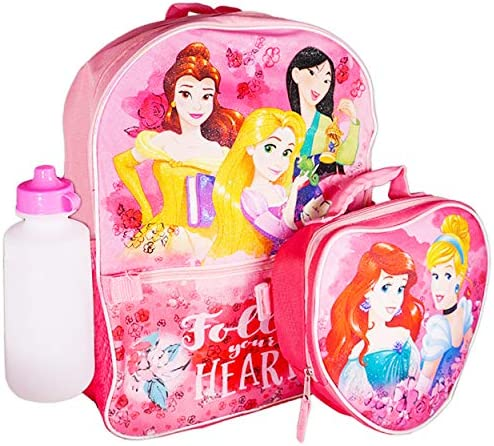 Disney Princess Backpack and Lunch Box Set for Girls Kids  Deluxe 16 Princess BackpackLunch Bag and Water Bottle (Disney Princess School Supplies)