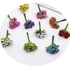 Miao Express 10 Berries Stamens Small Scrapbook Decoration DIY Wreath Artificial Flower Wedding Handmade Flowers Fake Fruit 67
