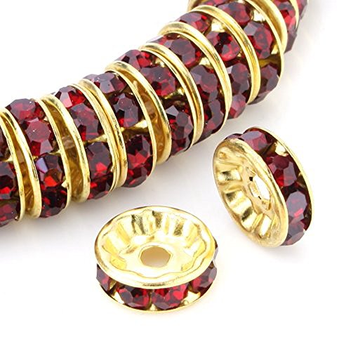 100pcs 8mm Top Quality Rhinestone Crystal Rondelle Spacer Loose Round Beads (Siam Red) 14K Gold Plated Brass Metal CF7-805 ()