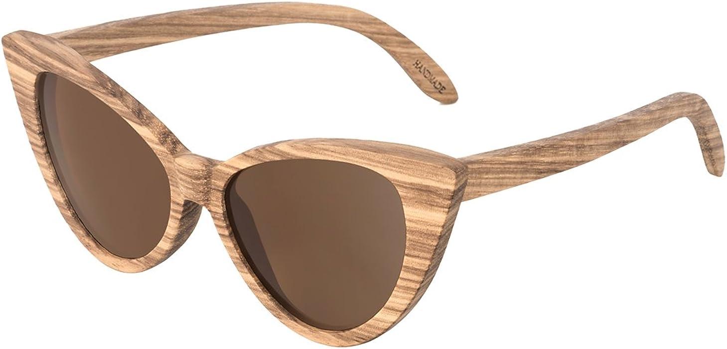 37b541f0b4a7b Cat Eye Bamboo Polarized Sunglasses Wood for Women Girls Handmade Mirrored  Lenses Vintage Wooden UV400 Eyewear Fashion Light Cute Sun Glasses with Box  ...