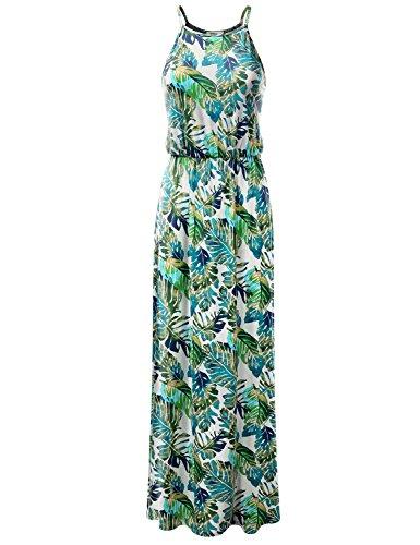 Floraux D'été Des Femmes Et Clovery Réservoir Solide Robe Imprimée Robes Maxi Longue Cwdmd0130_mintleaf