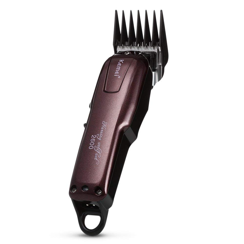 Kemei KM - 2600 Trimmer eléctrico recargable de las podadoras de pelo con peine guía para peinado HAPQIN
