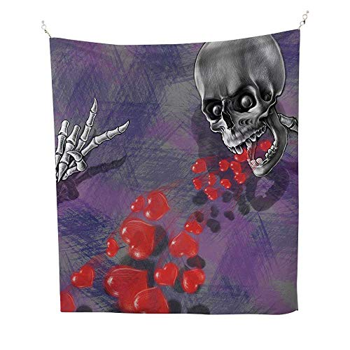 (Skull Decorwall Tapestry for bedroomSkeleton in Love Throw Out Puke of Hearts Romantic Gesture Valentines Art 51W x 60L inch Beach tapestryGrey Red and)