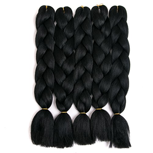 - Lady Corner Braiding Hair 24inch Jumbo Braids High Temperature Fiber Synthetic Hair Extension 5pcs/Lot 100g/pc for Twist Braiding Hair (Jet Black)
