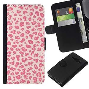 KLONGSHOP // Tirón de la caja Cartera de cuero con ranuras para tarjetas - Patrón Besos Amor Piel rosada - Samsung Galaxy Core Prime //