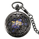 Lancardo Antique Gear Pattern Blue Hand Wind Mechanical Half Hunter Skeleton Pocket Watch with Chain