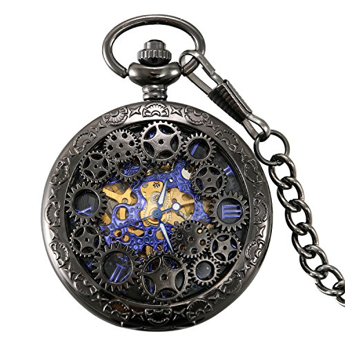 Lancardo Reloj de Bolsillo Mecánico de Cuerda Manual Cubierta Forma de Engranajes Collar de Suéter Retro con Colgante...