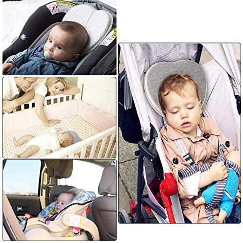 Flat Head Shaping Pillow with Washable Pillow Cover Baby Pillow Gray Baby Sleep Pillow Baby Kids Memory Pillow for The Prevention of Plagiocephaly for Sleeping Positions