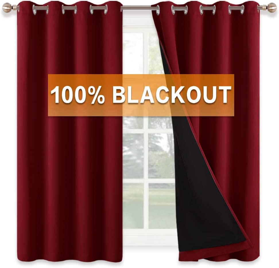Total Blackout 2 Layers with Black Liner Grommet Soundproof Curtain for Living Room Family Room Playroom Office Decor Pure White RYB HOME Sliding Door Curtains 100 x 84 inches 1 Pc