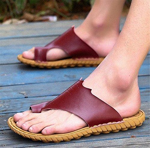 Bininbox Mens Flip-floppene Flat Sandal Pustende Sko Tøfler Gummi Eva Såle Rød