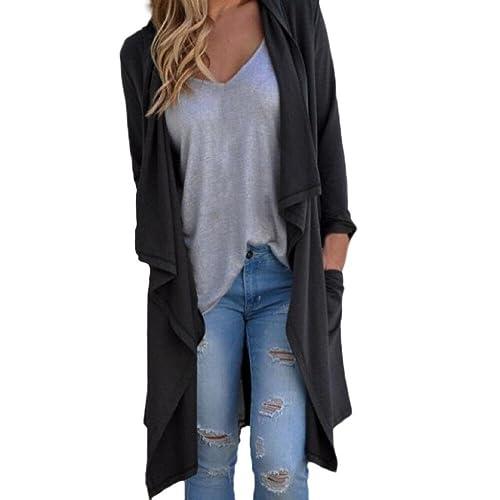 FEITONG Las mujeres irregular Manga larga algodón chaqueta de punto flojo Capa de la chaqueta outwea...