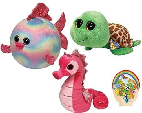ae8eff7877c Ty Beanie Babies Pink Majestic Seahorse -Boos Green Zippy Turtle - Ballz  Rainbow Fish-