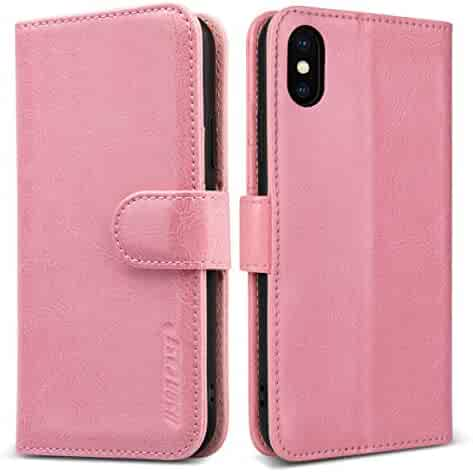 9a735739e iPhone Xs Case, JISON21 iPhone X Case Folding Flip Leather Wallet Case with  Card Slot