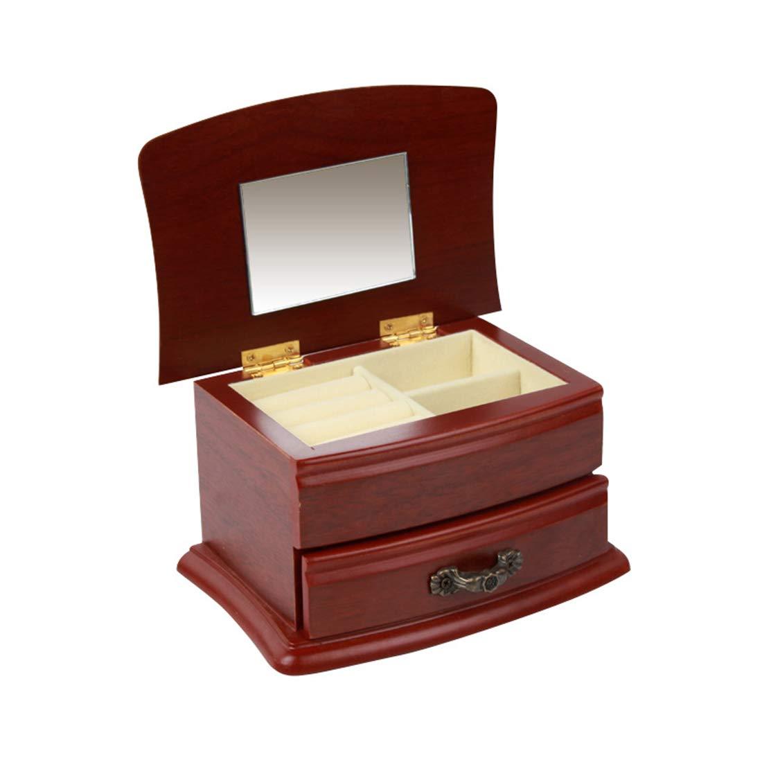 CAFUTY 多機能ソリッドウッドベルトロッククロス棺ジュエリーボックスパールボックス、古代色 (色 : Wood Brown) B07QW4KFX3 Wood Brown