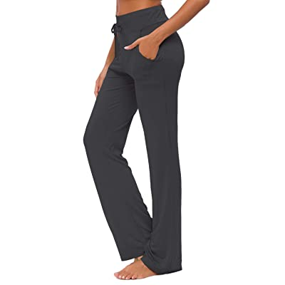 Womens Yoga Pants with Pockets Straight-Leg Loose Comfy Modal Drawstring Lounge Running Long Active Casual Sweatpants at Women's Clothing store