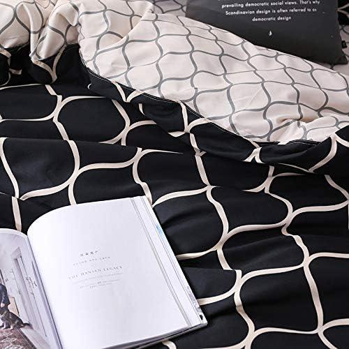JSDJSUIT Ensemble de literie de Super King Housse de Couette Ensembles 3 pièces en marbre Unique Hirondelle Reine Taille Noir Couette Linge de lit Rayure,245x210 cm