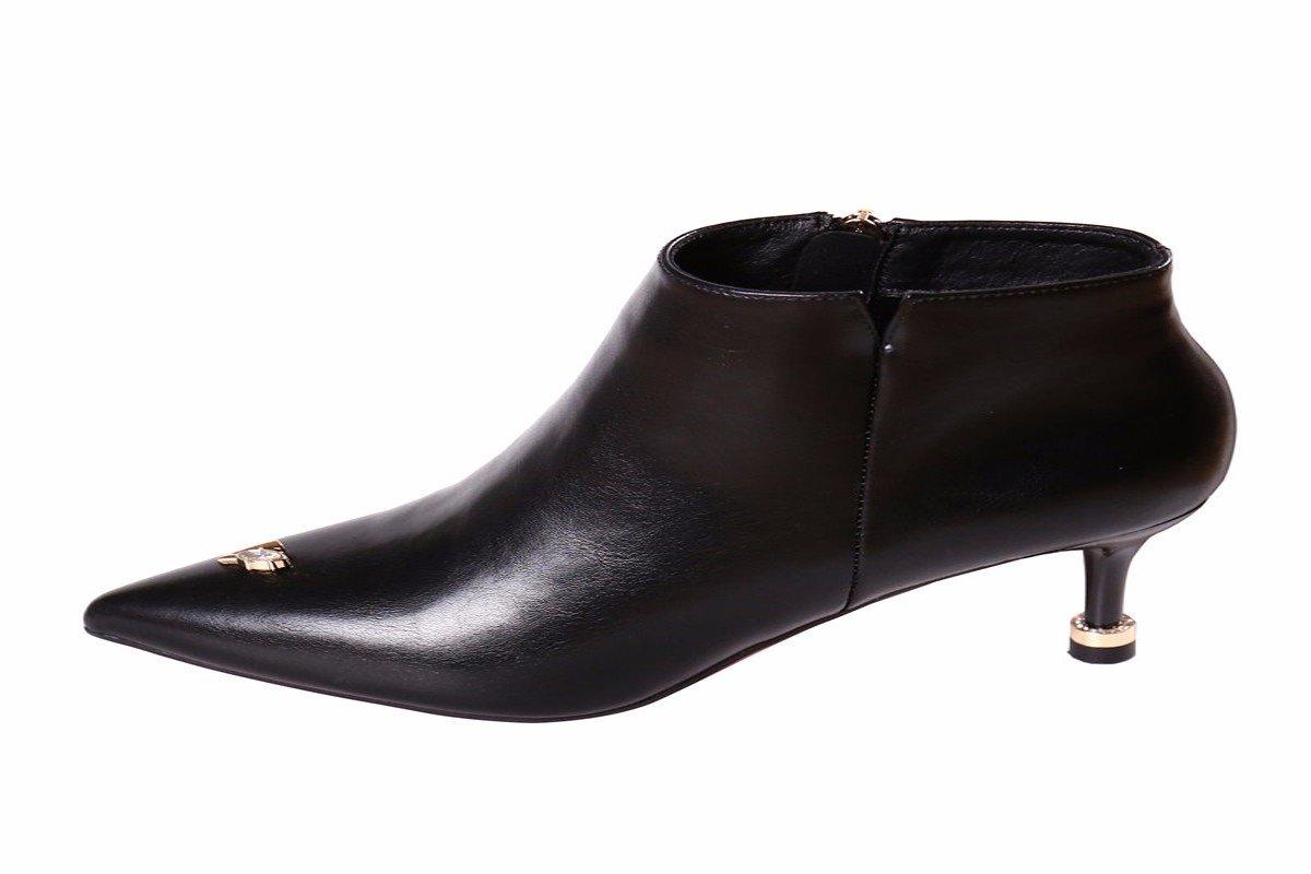 HBDLH HBDLH HBDLH Damenschuhe Temperament Einfache Schwarz und Dünn 5 cm Schuhe mit Hohen Absätzen Herbst - Mode Britischen Stil Reißverschluss Kurze Stiefel Martin Stiefel. f4745d