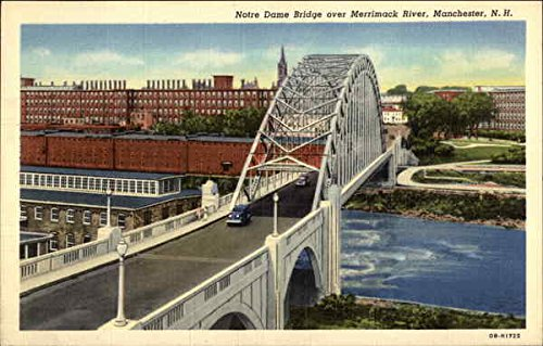 Notre Dame Bridge over Merrimack River Manchester, New Hampshire Original Vintage Postcard