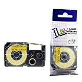 LM Tapes - Casio KL-750 18mm Black on Yellow Compatible Label Tape for Casio KL750 EZ Label Printer
