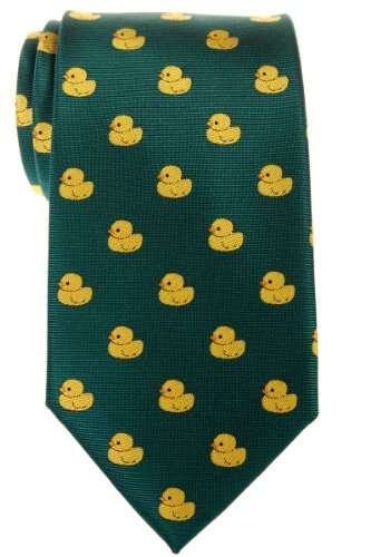 Rubber Ducky Tie (Retreez Classic Rubber Duck Woven Microfiber Men's Tie - Green, Christmas Gift)