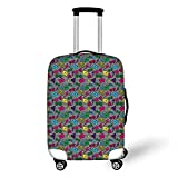 Travel Luggage Cover Suitcase Protector,Music,Modern Rap Hip Hop Glasses Funky Triangles Cassette Tapes on Minimalist Illustration Decorative,Multicolor,for Travel