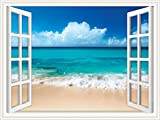 Walls 360 Peel & Stick Wall Decal Window Views Ocean Beach with Fluffy Clouds in Sky (60 in x 45 in)
