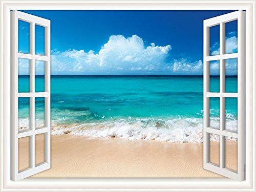 Walls 360 Peel & Stick Wall Decal Window Views Ocean Beach with Fluffy Clouds in Sky (24 in x 18 in)