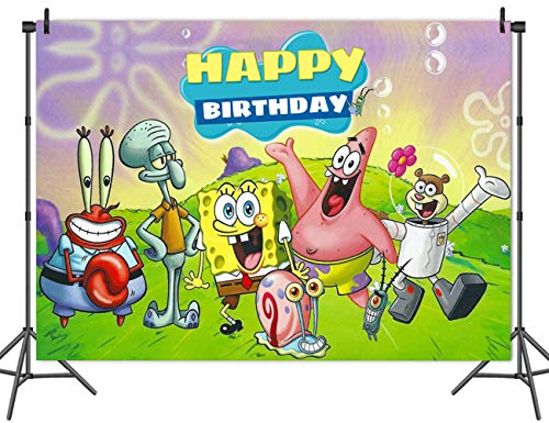 Cartoon Animation Spongebob Patrick Star Photography Vinyl Backdrops for Kids Birthday Party Cake Table Decor Background Children Photo Booth Studio Props 7X5FT