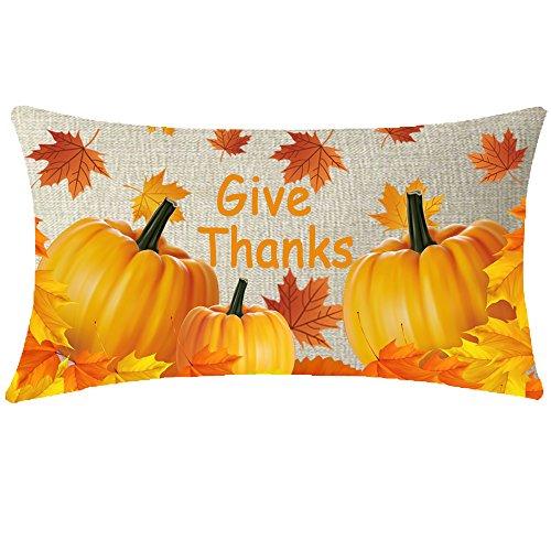 NIDITW Cotton Linen Hello Happy Fall Pumpkin Maple Leaf Give Thanks Lumbar Long Throw Pillow case Cushion Cover Pillowcase for Sofa Home Decor Rectangular 12x20 Inches