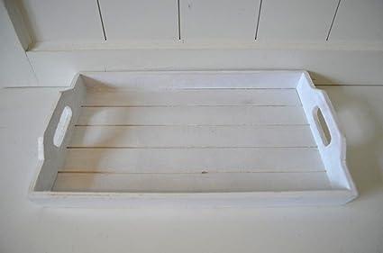 Bandeja Vela Bandeja Madera Color blanco Decorar rústico vintage mesa Antiguo Shabby aprox. 38 x