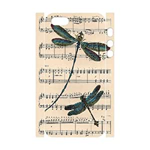 3D Dragonfly Art on Antique Music Page Case For Iphone 4/4S Cover Cases, Stevebrown5v {White}
