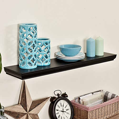 ing Shelves Wall Display Ledge Wood Shelf,48-Inch,Black (Black Wood Shelf)