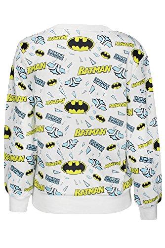 Nuevas señoras blanco Batman impresión Jersey sudadera Top Club wear ropa tamaño s UK 8–10EU 36–38