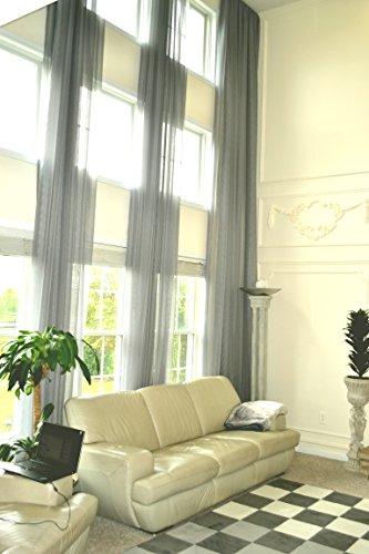 18' Custom Panel - Ikiriska Long Sheer Voile Curtain Panel Custom Made Length for high Ceiling (18 ft (216