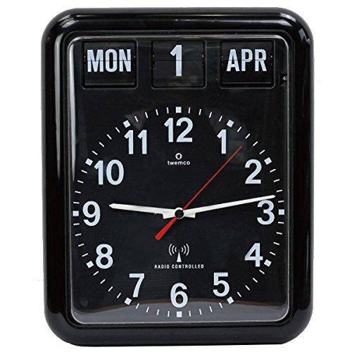 TWEMCO トゥエンコ デジタルカレンダークロック パタパタ時計 置き掛け兼用 電波時計 rc-12a (ブラック)  ブラック B01M6ZQFQA