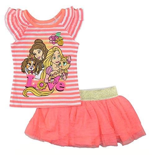 Disney Princess Little Girls Orange Two-Piece Skort Set, Orange, 6X