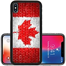 Liili Premium Apple iPhone X Aluminum Backplate Bumper Snap Case An image of the Canada flag painted on a wall in an urban location IMAGE ID 12423036