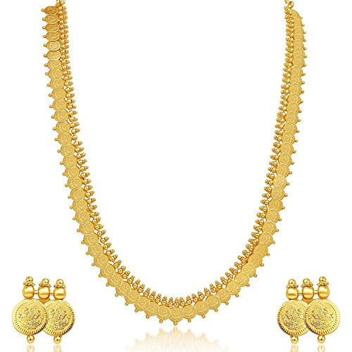 [MEENAZ Women's Jewelry Sets Traditional Temple Coin Necklace Gold Plated] (Bollywood Costumes For Men)