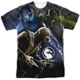 Trevco Men's Mortal Kombat X Double Sided Print Sublimated T-Shirt, White, X-Large