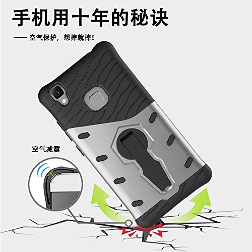 YHUISEN Vivo V3 Case, Hybrid Tough Rugged Dual Layer Rüstung Schild Schützende Shockproof mit 360 Grad Einstellung Kickstand Case Cover für Vivo V3 ( Color : Biue )