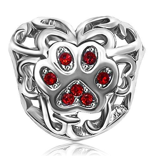KunBead Heart Dog Mom Love Birthstone July Red for Bracelets