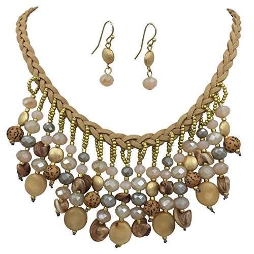 Braided Faux Suede Cord with Dangle Mixed Beads Statement Necklace & Earrings Set (Neutral Brown Tones)