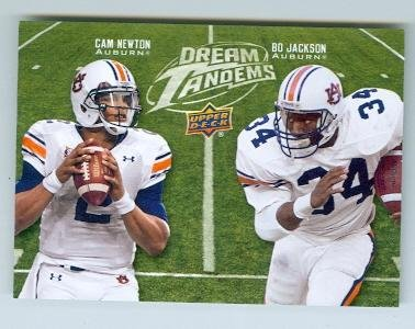 Cam Newton and Bo Jackson football card (Auburn Tigers Heisman Winner) 2011 Upper Deck #DT10 Rookie