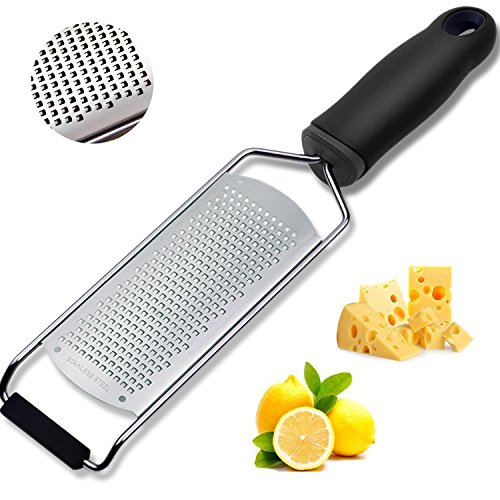 Holii Handheld Cheese Grater& Lemon Zester, Ideal Shredder for Parmesan Cheese Lemon Chocolate & More, Slicer With Sharp Blade-Protective Cover- Dishwasher Safe,Ergonomic Handle-Tiny Pieces Shred