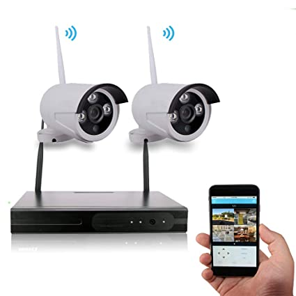 4CH Security Camera System Wireless, WEILIFE 2PCS 720P Wireless  Home/Outdoor/Business Surveillance Systems, IP WiFi Security Camera System  with Night