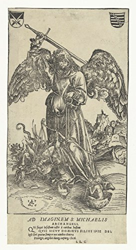 Classic Art Poster - Archangel Michael killing Satan and weighs a soul, Lucas Cranach