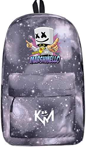 YOURNELO Boy s Canvas DJ Marshmello Alan Walker Rucksack School Backpack  Bookbag (A Galaxy Grey) 0373fa85f0