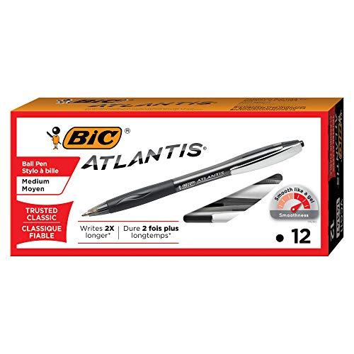 BIC Atlantis Original Retractable Ball Pen, Medium Point (1.0 mm), Black, 12-Count