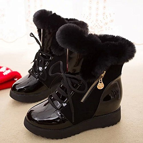 Bottes classiques Femme Neige Fourrees Bottines Lacets bottines Cuir Et Hiver Chaussures boots Fourrées Chaudes De Plates Impermeables Noir Boots dRZxqICw